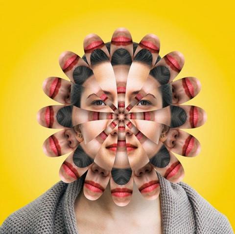 cabeza de caleidoscopio amarilla