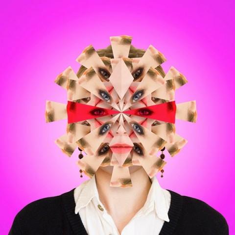 cabeza de caleidoscopio rosa