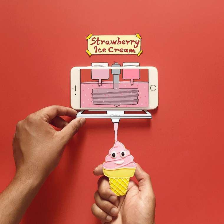 el helado de fresa de moography