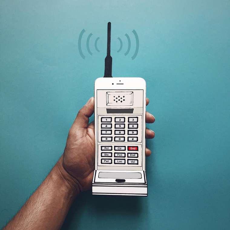 la teléfono móvil vintage de moography