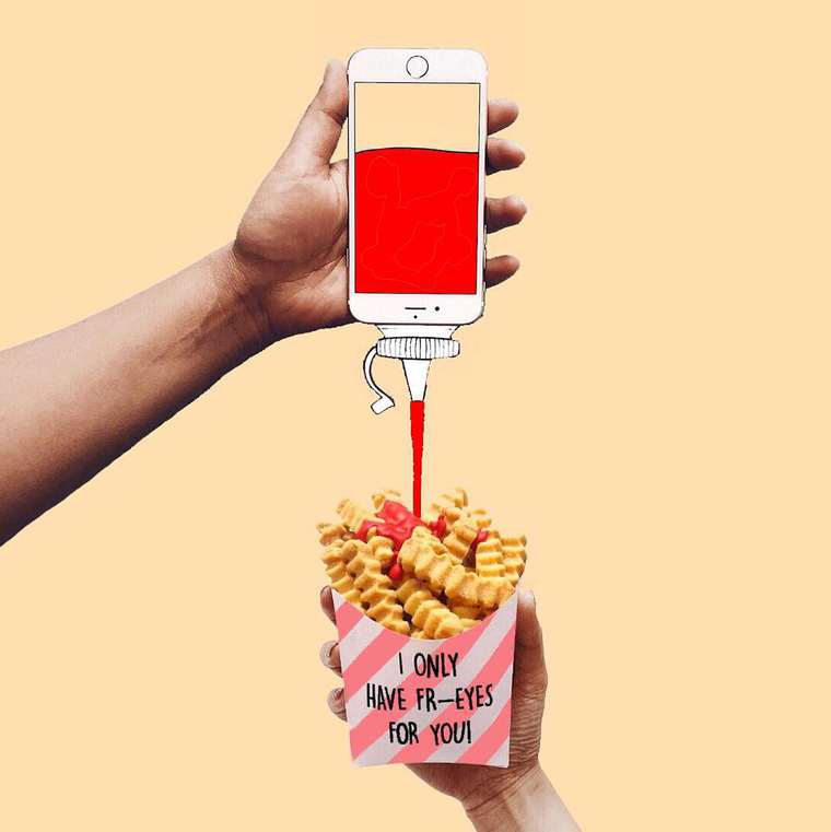 las patatas fritas con ketchup de moography