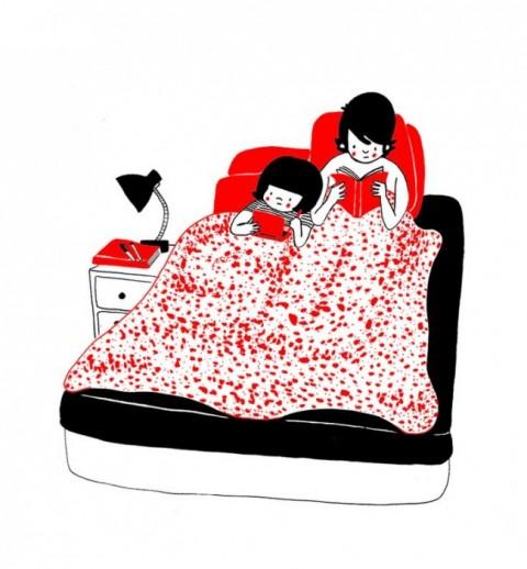 soppy philippa rice. leyendo en la cama