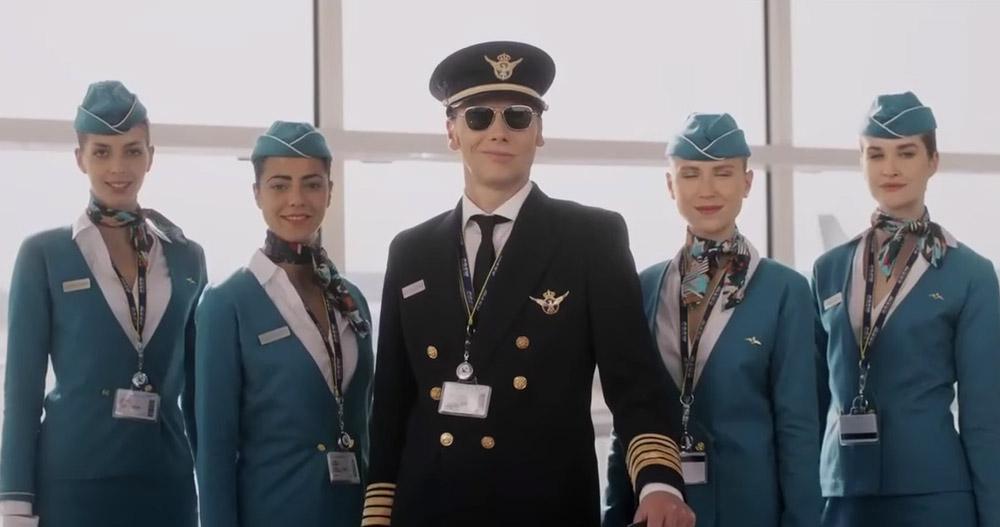 aquarius. uniforme de piloto y tripulacion de avion