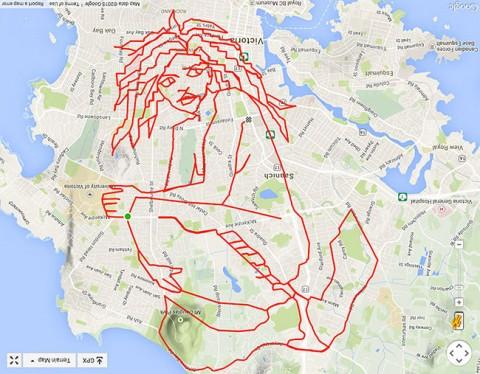 stephen lund hace un personaje de avatar gps mientras va en bici