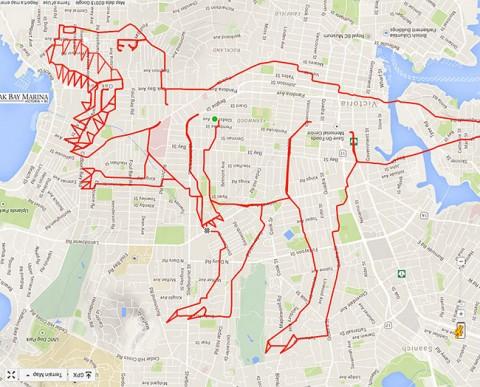 stephen lund hace un t-rex gps mientras va en bici