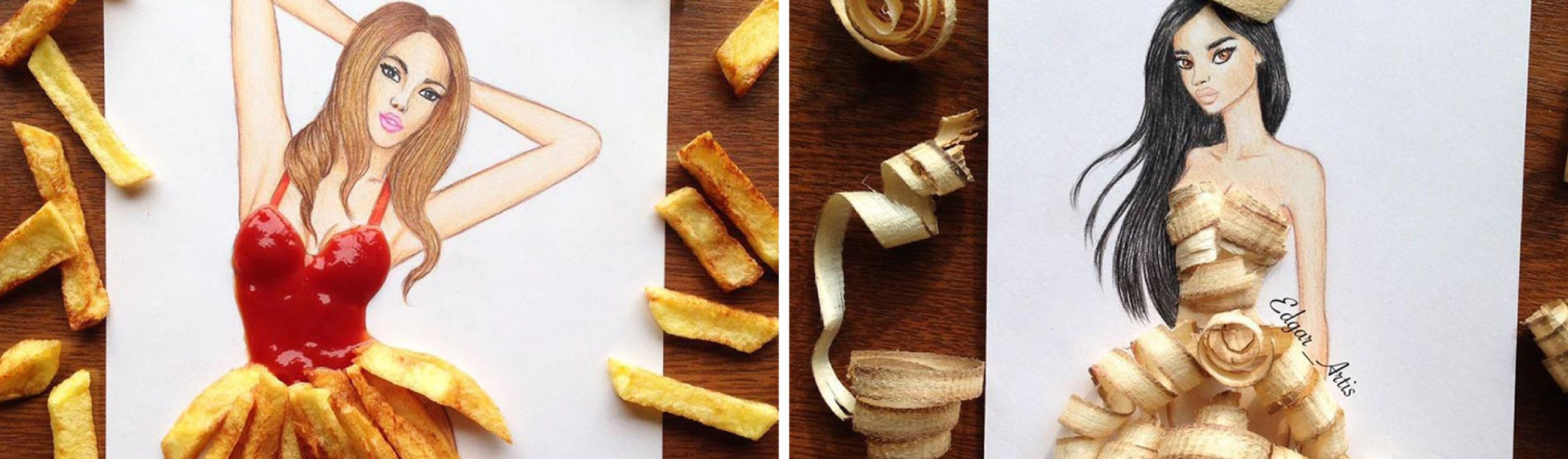 edgar artis, el ilustrador de moda que viste a sus modelos con comida