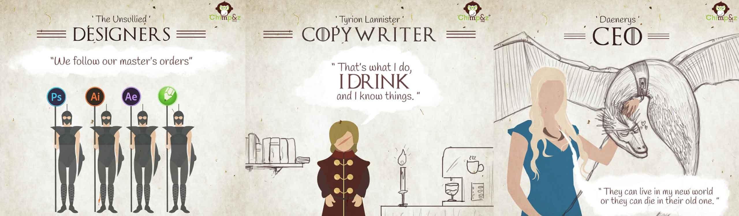 ¿y si los personajes de juego de tronos trabajaran en una agencia de publicidad?
