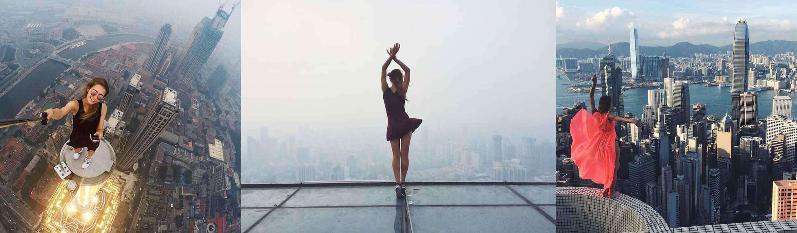 angela nikolau, la mujer que se fotografía en las alturas